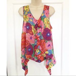 Liefsdottir Anthropologie Floral Print Silk Top